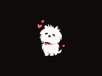 Maltese Dog puppy animal dog mascot flat character illustration cute logo