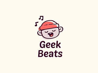 Geek Beats children kid cool hip hop music mascot cute character illustration logo