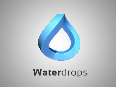 Waterdrops logo logo 3d c4d cinema 4d icon waterdrop water drop blue simple drink fluid drops