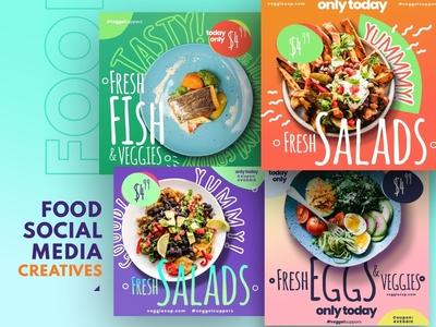 Social Media Food Banners Set 3 food art food social social media creative templates templates banners food banners food cretives food ads design templates beverage design food and drink food creatives food
