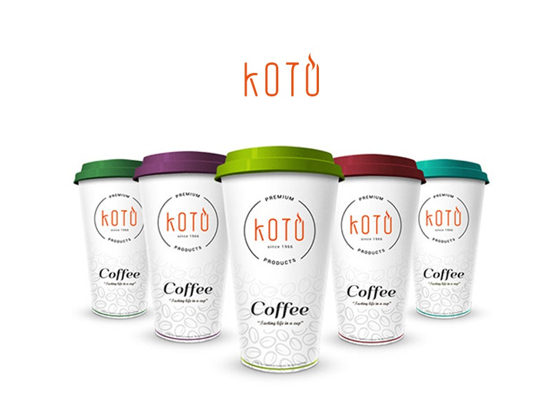 Koto coffee cup packing design koto packing design branding coffee cup pack
