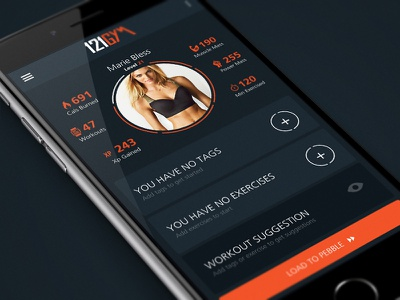 121GYM 121gym workout pebble mobile ui app design fitness callories sport time burn