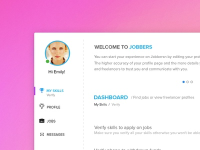Jobbers dashboard ui web app freelancing interface