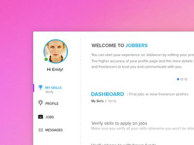 Jobbers dashboard ui web app freelancing interface