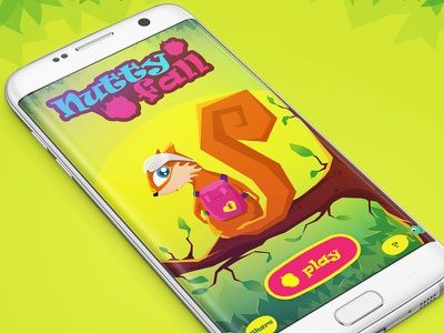 Nutty Fall - New mobile android game characterdesign android game artwork ui newgame gamedesign