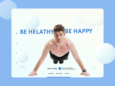 Fitness Trainer Landing page typography flat website web ux ui design