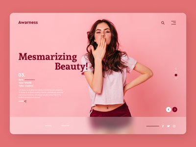 Beauty Products Landing Page art branding typography website web ux ui design