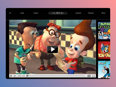 Cartoons Playing dashboard online new education website education typography website web ux ui design