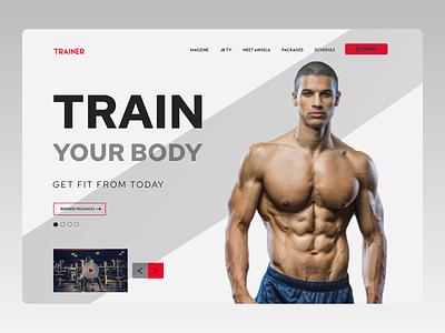 Fitness Trainer minimal web ux ui design