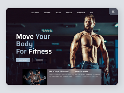 Fitness Trainer online new website typography minimal clean web ui ux design