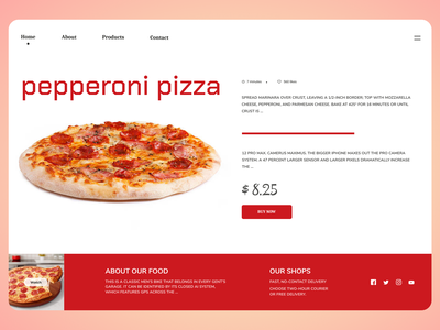 Pizza Online typography online new website minimal clean web ux ui design