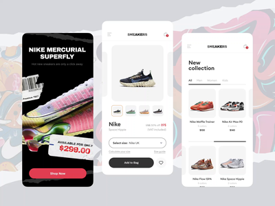 Sneakers Online store - Mobile App nike sport shoes shop online-store store e-commerce sneakers ux mobile minimal design clean app animation ui