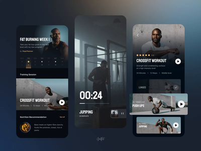 Fitness & Workout mobile app photo branding clean animation mobile ui ux trainer online trainings session live video timer schedule workout calendar