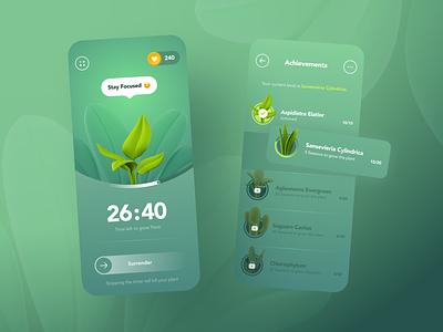 Focus timer - Mobile App app design clean ux ui environment green time progress session task button work focus mobile achievements plant timer pomodoro