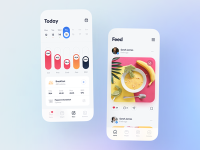 Calorie Counter App news feed community diary lunch breakfast eat life healthy diet carb protein food calories design clean app mobile ux ui