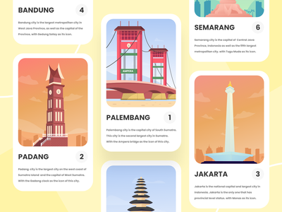 Card Illustration - Indonesian Landmark building travel illustration travel ios indonesia designer card design card ui building illustration white vector ui minimal illustration graphic design flat design clean bright color