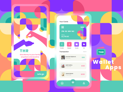 THR - E-Money App Design share e-wallet e-money cool awesome android money bauhaus colorful wallet ui ios vector ui minimal illustration graphic design flat design clean bright color