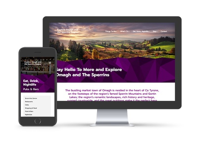 Explore Omagh and The Sperrins tourism mountains geometric wordpress ux website web design
