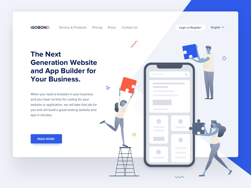 Landing Page - App Builder free download freebie illustration business app builder website builder landing page landing