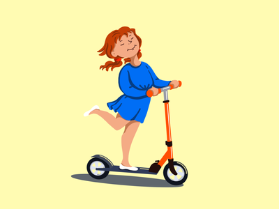 Scooter girl ride a scooter childhood kick scooter red-haired girl procreate illustration