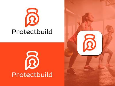 Protectbuild logo  design concept abstract startup letter logo fitness logo bodybuilder gym logo cybersecurity ecommerce app icon design security logo flat minimal training workout creative logo tech logo branding symbol brand identity modern logo logo