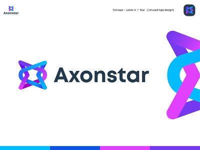 Axonstar Logo Concept logo branding ecommerce logos brand identity abstract app icon star letter a loop modern logo connection link communication design vector symbol creative logo gradient logo logodesign