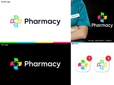 Logo for pharmacy logo letter p logo flat minimal medical medicine hospital pharmacy clinic healthcare health logo pharmaceutical app icon brand identity logodesigner tech technology ecommerce logos branding logo design