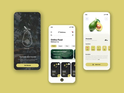 Avocado Food Delivery Apps illustration ui vector ux icon typography design branding graphic design app logo