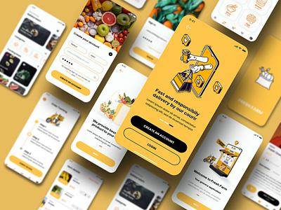 Grocery IOS App Design shopping app ecommerce online app grocery app ui branding graphic design user interface responsive app design wireframe login page user journey map prototype