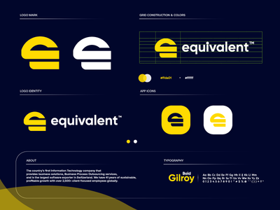 equivalent startup design letter gradient modern logodesign technology logo design logo