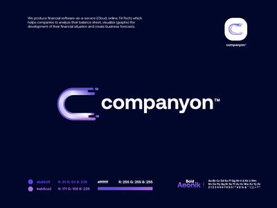 companyon startup purple blue letter gradient modern logodesign technology logo design logo