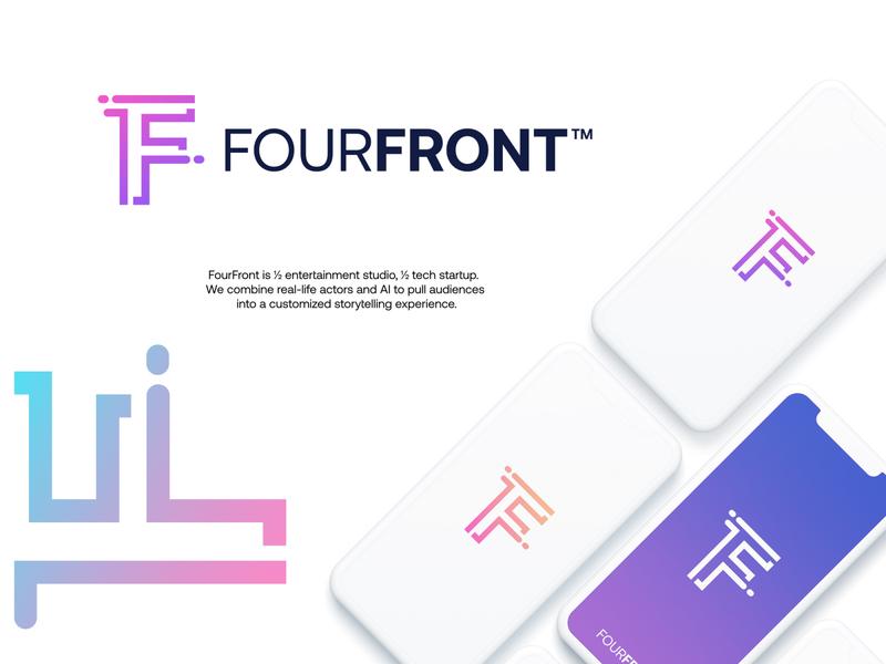 FourFront startup gradient modern logodesign technology logo design logo