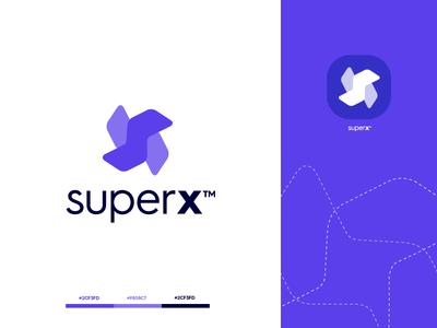 superx startup purple design letter gradient modern logodesign technology logo design logo