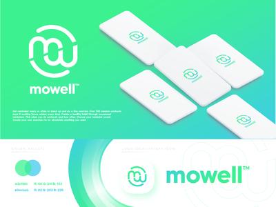 Mowell - MW Logo gym wellness fitness technology design startup gradient modern logo design logo