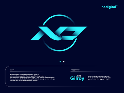 NO Logo startup branding modern technology logo design logo