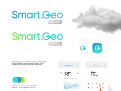 Smart.Geo logo cloud weather forecasting forecast design gradient modern startup technology logo design logo