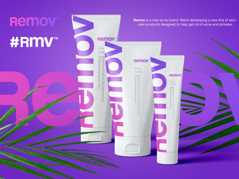 Remov - logo skincare acne startup logo design logo
