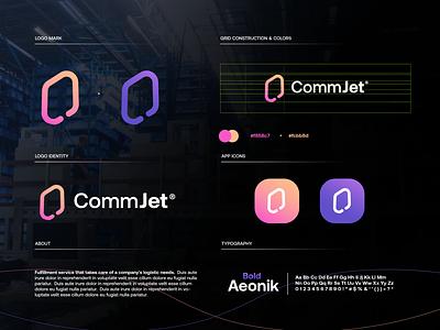 CommJet branding startup design gradient logodesign modern technology logo design logo