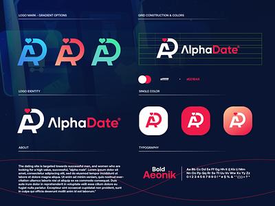 AlphaDate dating website dating app love dating gradient modern technology logo design logo