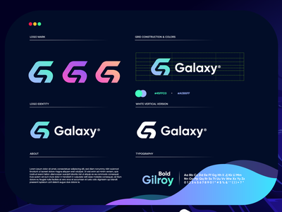 galaxy blue startup letter design gradient logodesign modern technology logo design logo