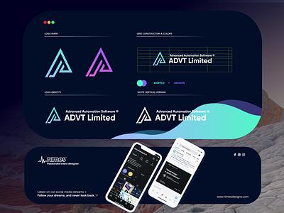 Advt Limited startup letter design gradient logodesign modern technology logo design logo