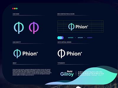 Phion design gradient logodesign modern technology logo design logo
