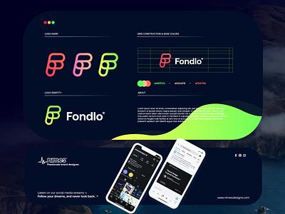 Fondlo branding startup letter design gradient logodesign modern technology logo design logo