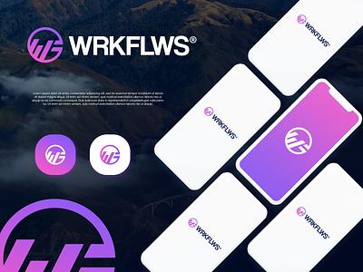 WF wf gradient logodesign modern technology logo design logo
