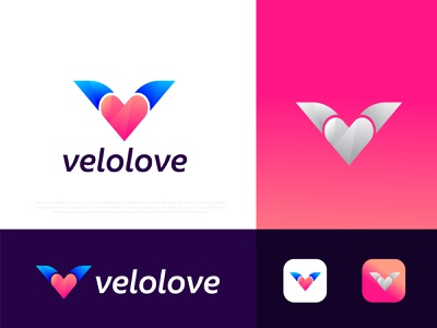(V+love) velolove Logo design v logo v logo illustration gradient abstract typography brand identity design branding logotype best logo designer portfolio logo designer logo mark logo icon symbol app icon love business modern logo technology creative logo