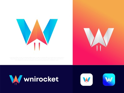 Modern W letter logo design wnirocket logotype brand identity branding logo agency abstract technology logos logo design creative rocket logo designer n o p q r s t u v w x y z colorful pattern modernism popular w letter logo app icon logo
