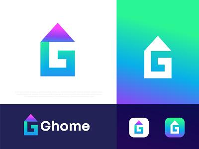 Ghome Modern Logo Design house logo home logo g logo g logo gradient abstract typography branding logotype logo designer logo mark symbol app icon corporate business modern logo technology brand identity logo agency app icon