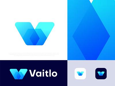 Modern Branding logo design for Vaitlo logos v letter v v logo illustration gradient abstract typography brand identity design branding logotype logo designer logo mark logo icon symbol app icon corporate business modern logo technology brand identity