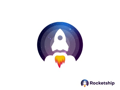 Rocketship Modern Logo graphic design brand identity designer logo maker app icon galaxy earth ui illustration design logo logo designer abstract typography brand identity logotype branding rocketship