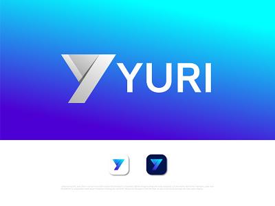 Modern Y letter logo for YURI motion graphics technology logo agency business y mark y letter y logo illustration logo design logo designer abstract typography brand identity logotype branding